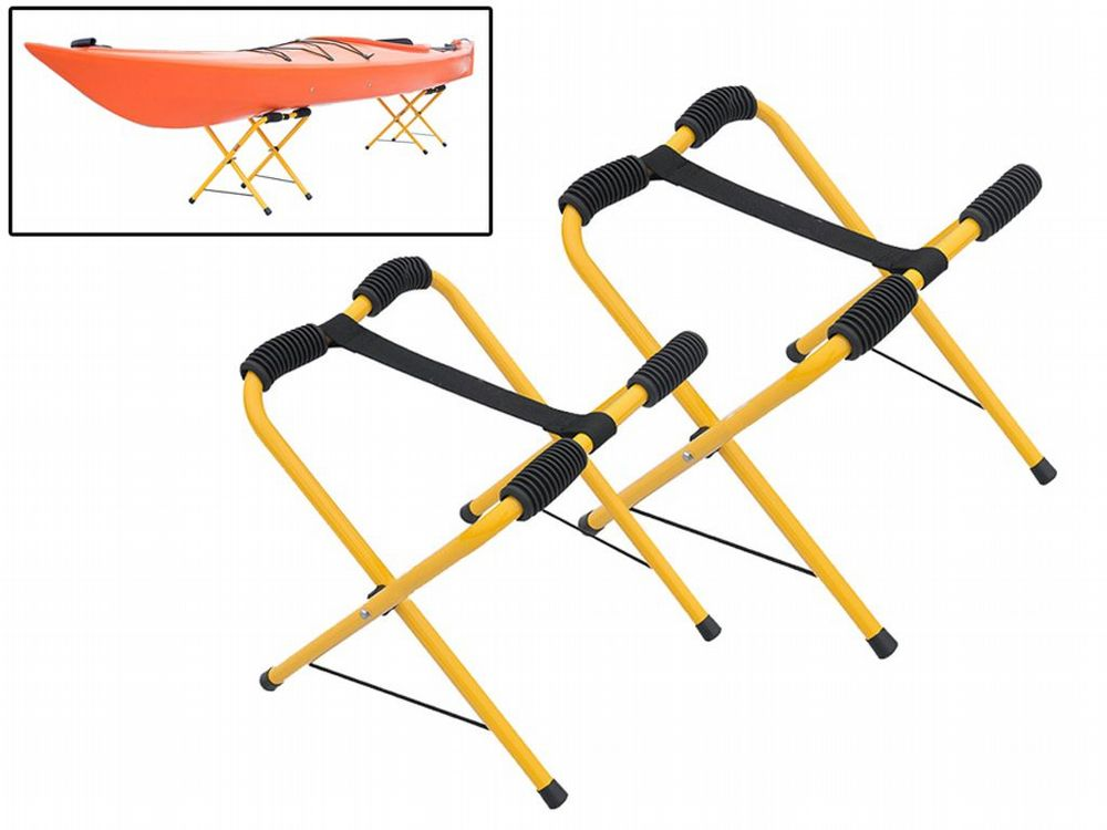 x1 Pair Folding Lightweight Kayak Support Stands - Aluminium Portable Canoe Storage Surfing Sup
